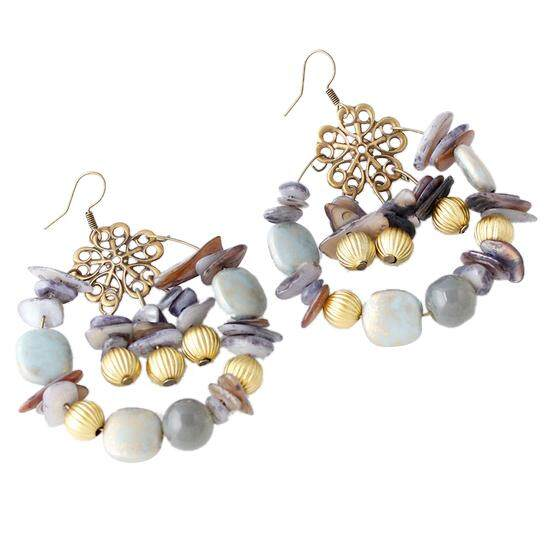 New Design Fashion Summer Style Charm Vintage Bohemian Beaded Earrings Jewelry For Women Grey