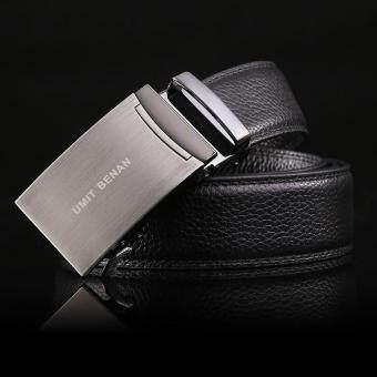 Auto Buckle Business Cowhide Men's Belt Black
