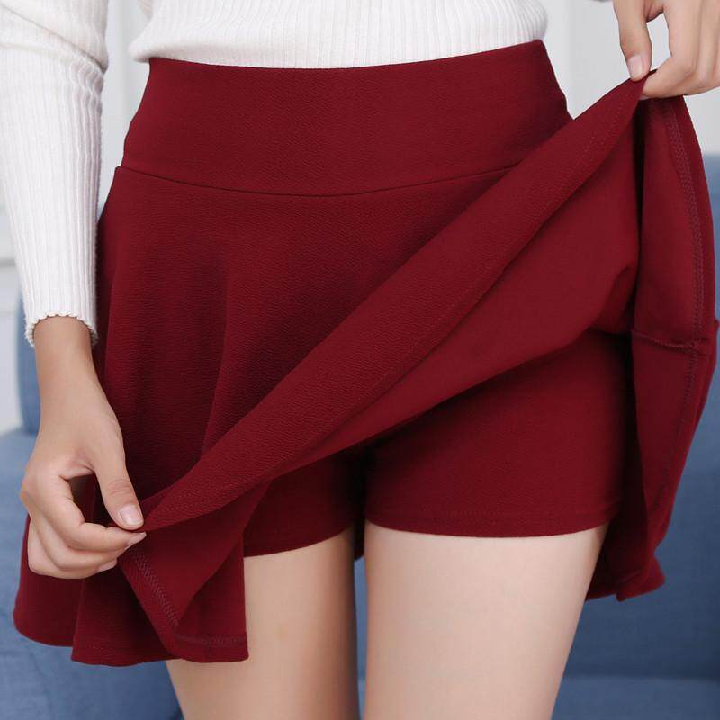 2018 Women Casual Skirts Lady Solid Color Skim-proof Pleated Skirts