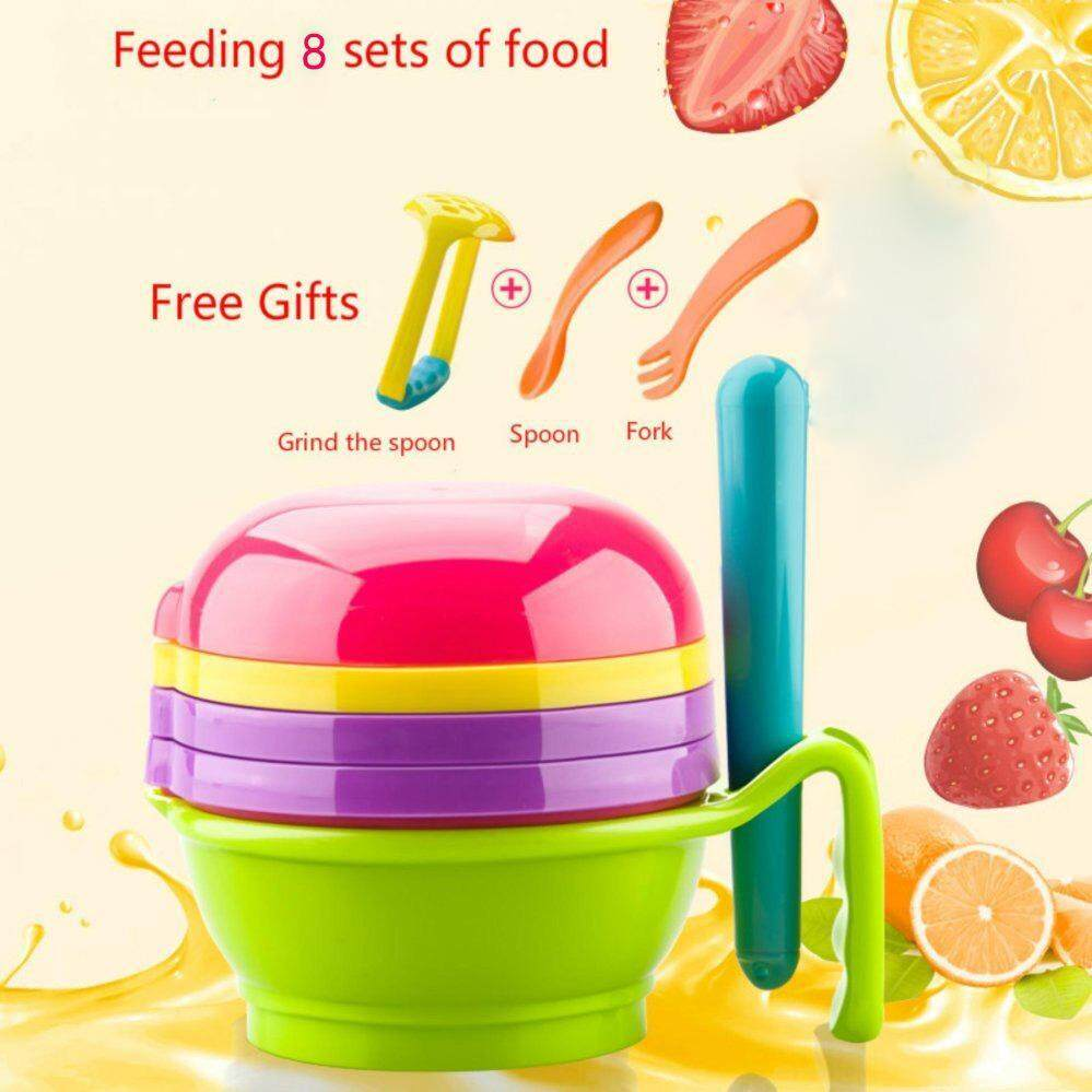Multi-functional Baby Food Grinder Set Manual Grinder+Filter+Lapping Plate+Bowl+Pestle Vegetables & Fruits Grinding Tools ly763 - intl image on snachetto.com
