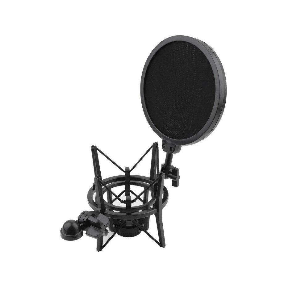 ERA Black Plastic Microphone Shock Mount Stand Holder with Integrated Pop Filter  Kit