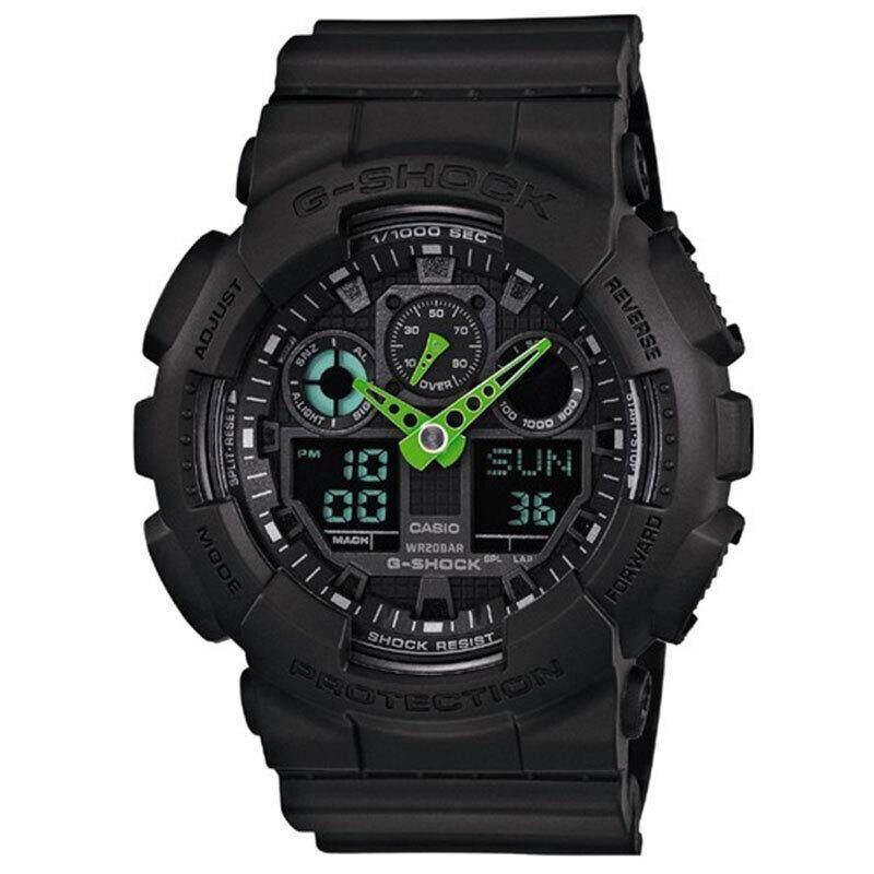 ยี่ห้อไหนดี  นครปฐม 【 STOCK】Original _ Casio_G-Shock GA-100 Duo W/เวลา 200M กันน้ำกันกระแทกและกันน้ำโลกนาฬิกากีฬาไฟแอลอีดีอัตโนมัติ Wist นาฬิกากีฬาสำหรับ MenGA-100C-1A3 สีดำ