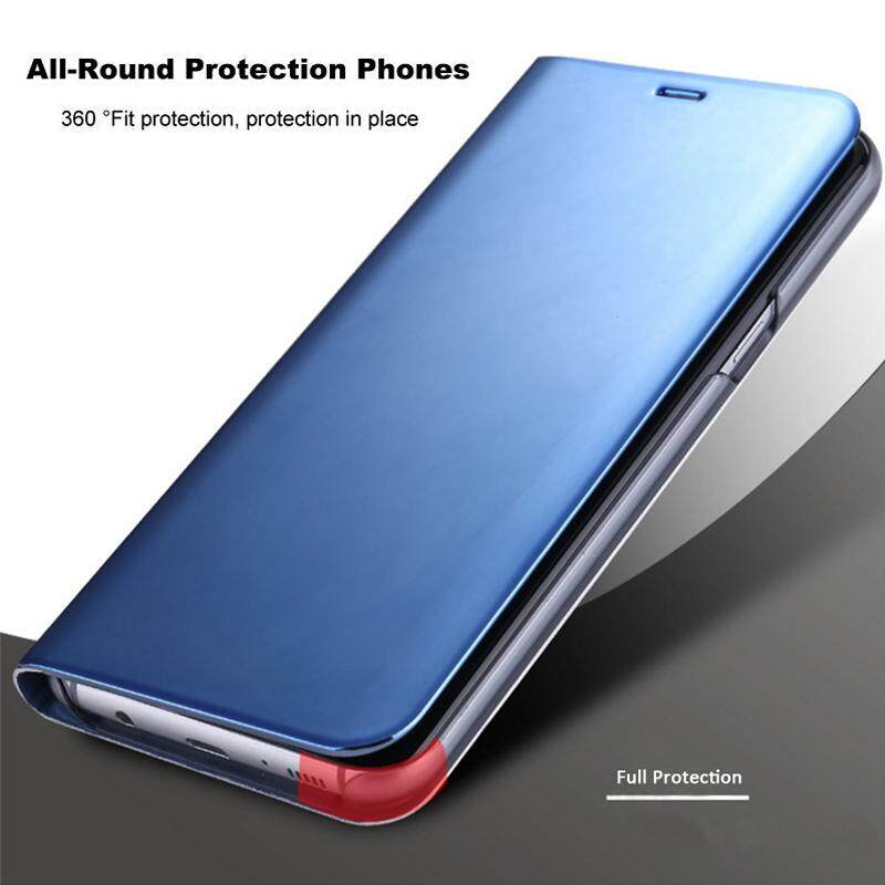 For Samsung Galaxy S9 Plus Case, Smart Clear View Case Flip Stand Mirror Cover Phone Casing