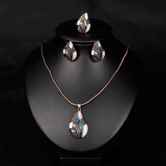 Cyber Women Casual Hollow Geometric Shape Rhinestone Jewelry Set - intl