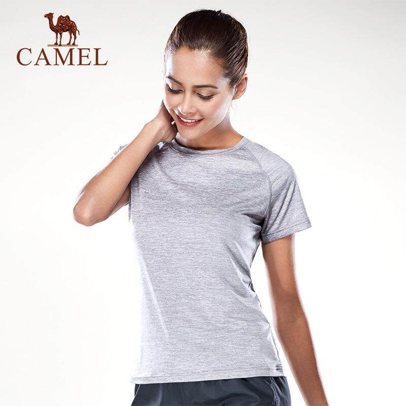 CAMEL Women sports T shirt quick dry leisure fitness Tops clothing male moisture wicking round neck Tee female short-sleeved sports shirt