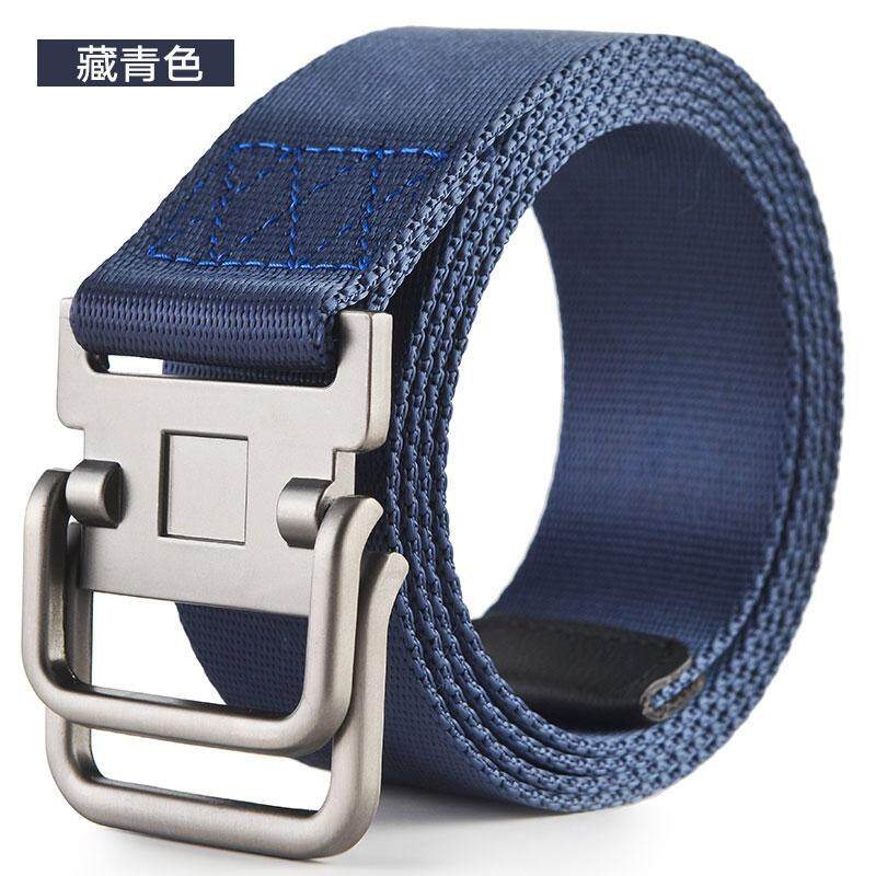 Military Web Canvas Fabric Belt D-Ring Buckle Mens Womens Metal Tip Solid Color