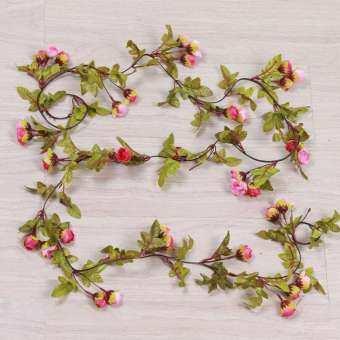 Outops 220 ซม. ทำจากผ้าไหมประดิษฐ์ไวน์รสกุหลาบสวยจำลอง Rose หวายงานแต่งงานตกแต่งผนังบ้านสไตล์: สีแดงกุหลาบ-