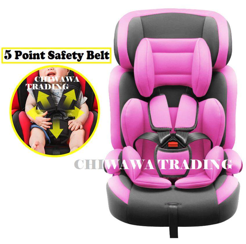 【5 Point safety Belt】Extra Safe - Premium Baby Child Kid Safety Children Booster Car Seat Car Cushion with Comfort Padded - Pink