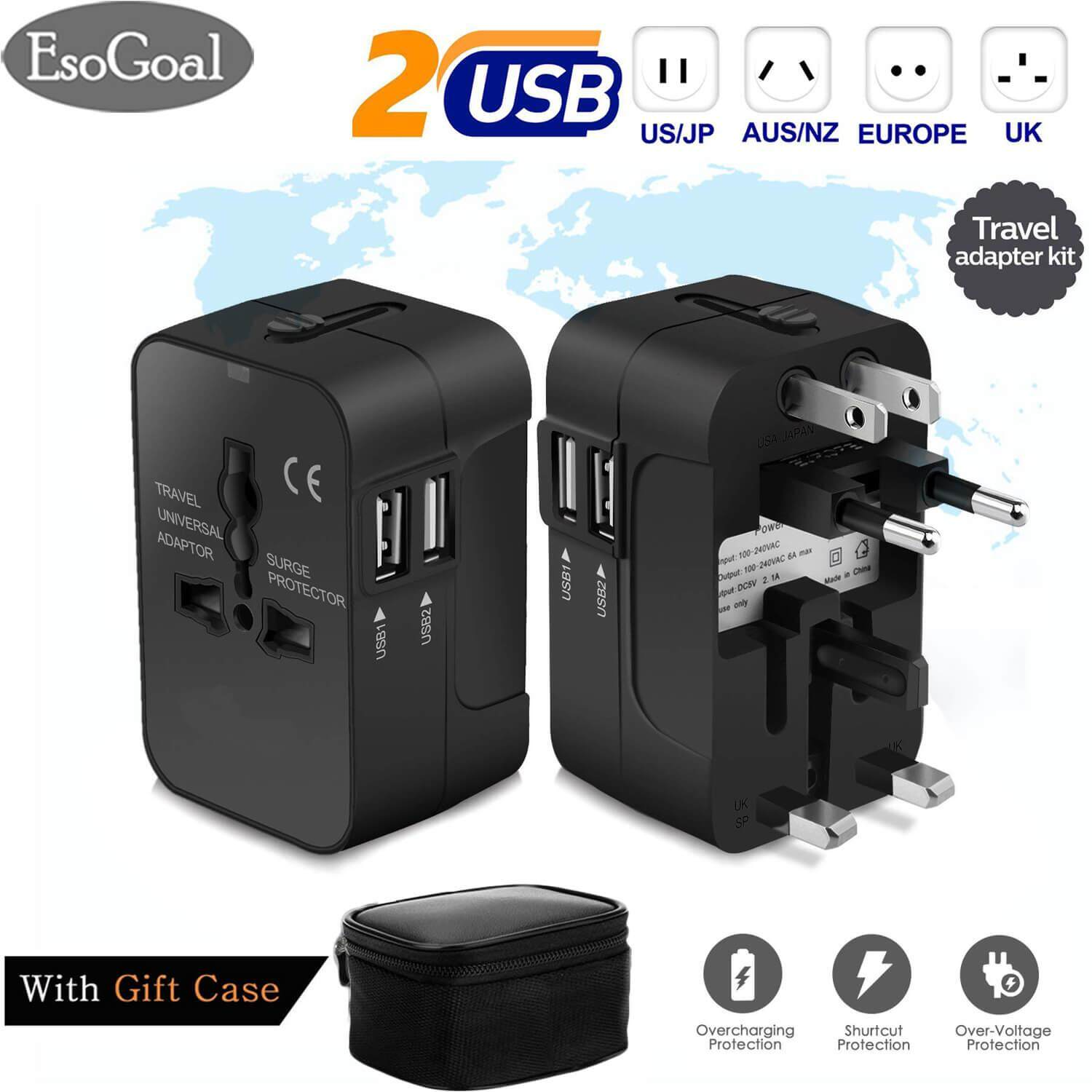 Multi-Outlets Travel Adapter, All in One International Universal Wall Power Travel Adaptor with