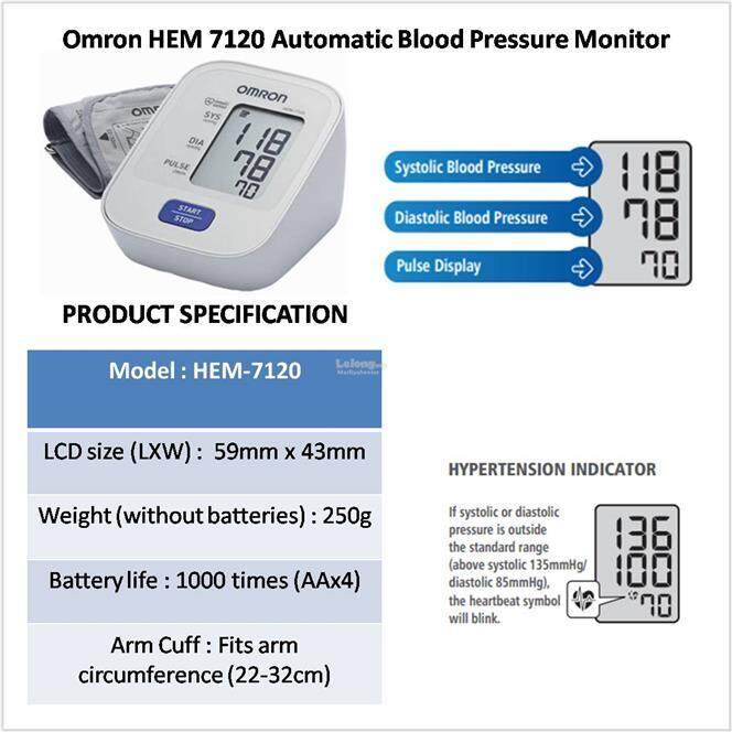 Omron Hem 7120 Automatic Blood Pressure Monitor 5 Years Warranty