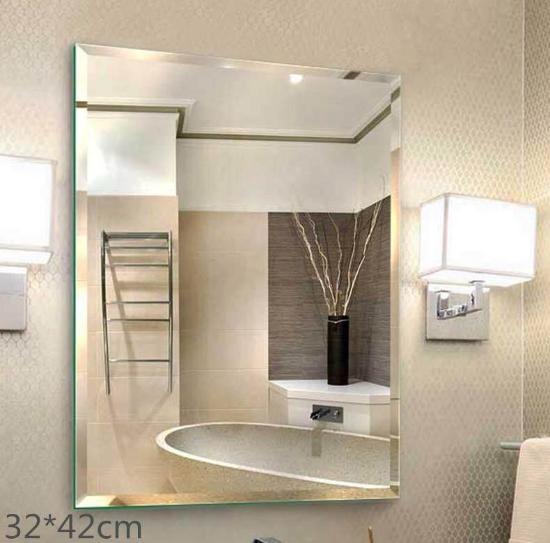 Bathroom Mirror Punching-free Toilet Mirror Wall Hanging Cosmetic Mirror Makeup Mirror 30*42cm - intl