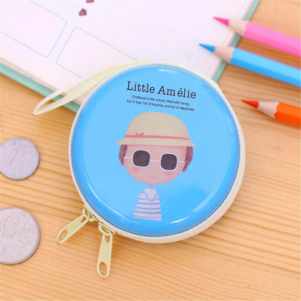 epayst【clearance sale+ready stock】Lovely Cute Girl Coin Purse Round Shape Metal Storage Organizer with Zipper Closure