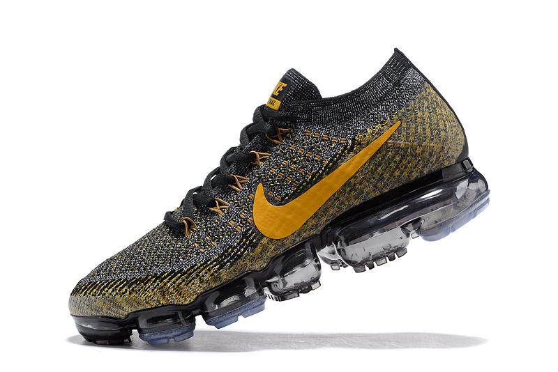 2018 Nike Air VaporMax Flyknit Men s Breathable Sports Shoes Fashion  Running Shoes (Black Golden 04444da6f0