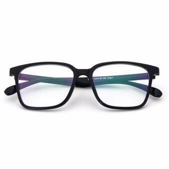 Fashion Women Men Eyewear Frame Eyeglass Square Full Frame Clear Lens Glasses Bright Black