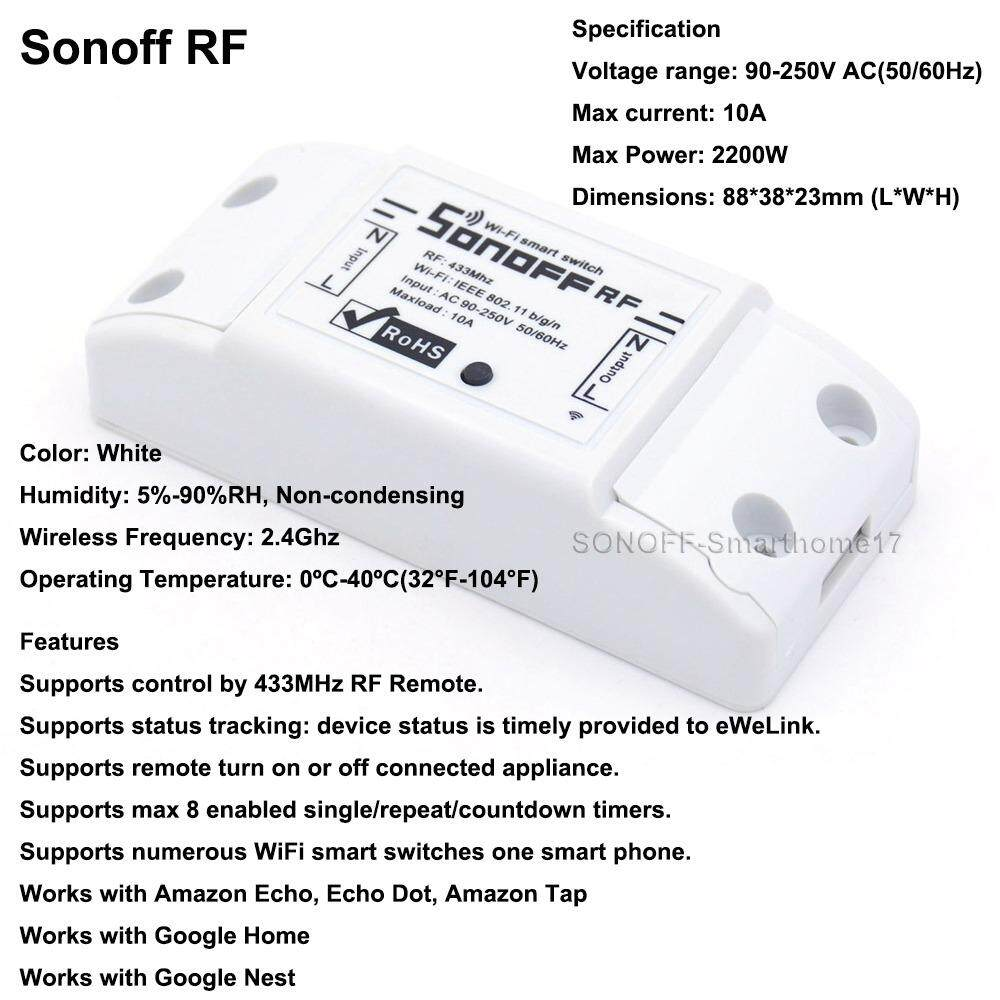 Sonoff ITEAD Smart Home WiFi Wireless Switch Module For Apple Android APP  Control Sonoff Basic/RF/Dual/Pow