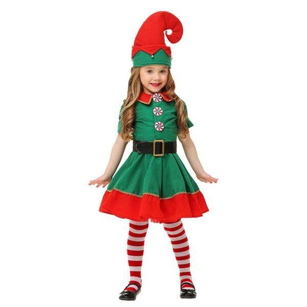 131189304ba81 Christmas Costume Set Children s Green Elf Festival Costume Cosplay Parent-child  Costume Suit for Girls