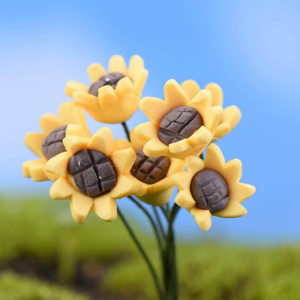 10Pcs Miniature Sun Flower Bonsai Crafts Fairy Garden Landscape DIY Decor