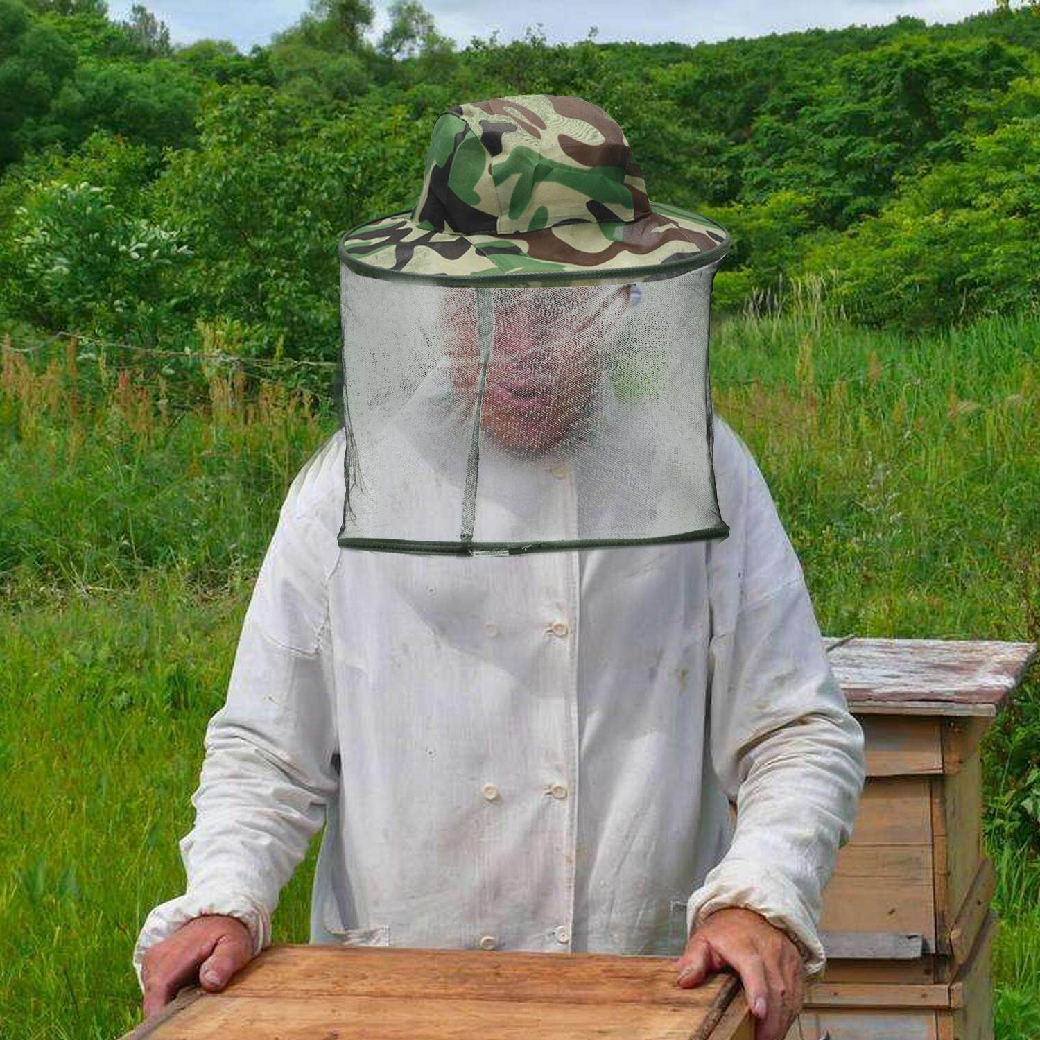 Beekeeping Tools Bee Hat Beekeeping Mesh Net Head Face Protector Cap Fly Mosquito Outdoor Camping