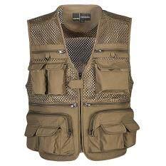 Summer men vest multi-pocket large size mesh vest