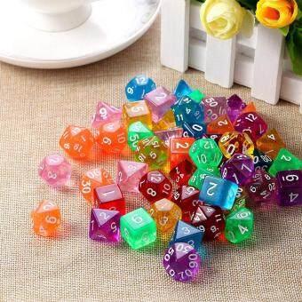 LumiParty 7Pcs/Set Translucent Polyhedral Dice Set for Dungeons Dragons  Pathfinder D&D RPG (D4 D6 D8 D10 D12 D20 D%) Style:red