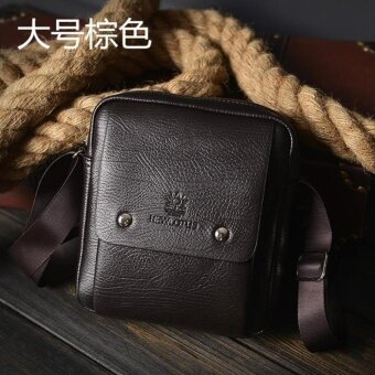 Men Cowhide Leather Business Phone Bag Youth Crossbody Bag Practical Leisure Daypack Hiking Shoulder Bag Outdoor Sports Hiking Satchel (Dark Brown Large)