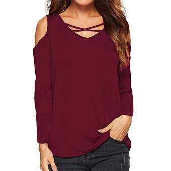 IDASIC ผู้หญิงเลดี้ Casual Daily ข้ามแขนยาว Solid V คอเสื้อเชิ้ตแฟชั่นเสื้อ-