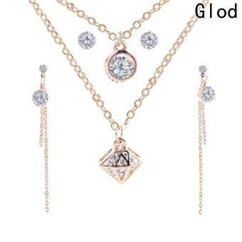 Simple Geometry Stud Earrings and Pendant Necklace Jewelry Sets for Women-