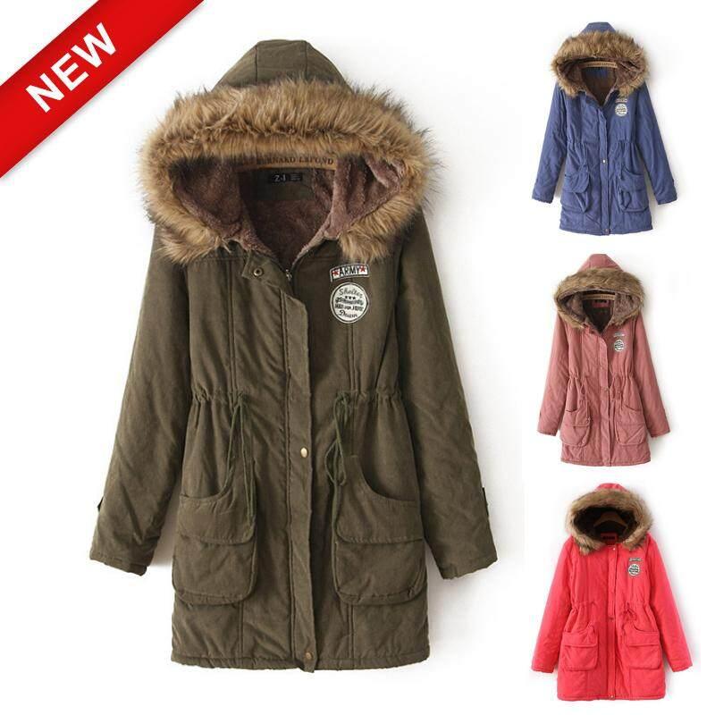 060b7ead4 STF Fashion Women Winter Coats Fur collar hooded cotton jacket lambskin  long cotton coat plus size casual slim coat