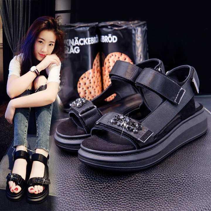 DC New Summer Flat Thick Bottom Sandals Street Water Diamond Wild Flat Summer Casual 40 Muffins 4143 Womens Shoes. 3b1074