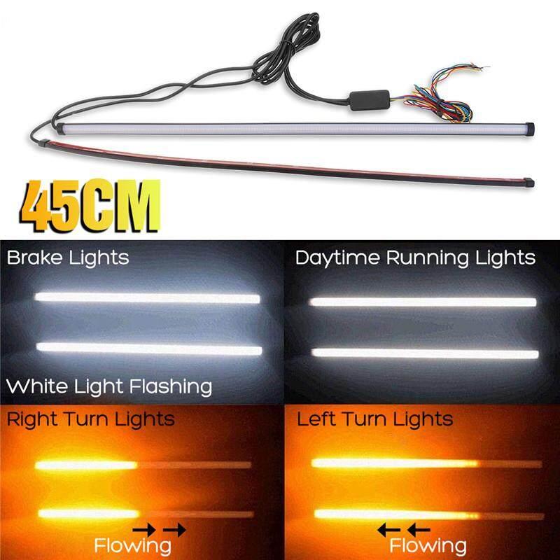 2x 6LED Daytime Running DRL White Flowing Turn Signal Amber Switchback Light