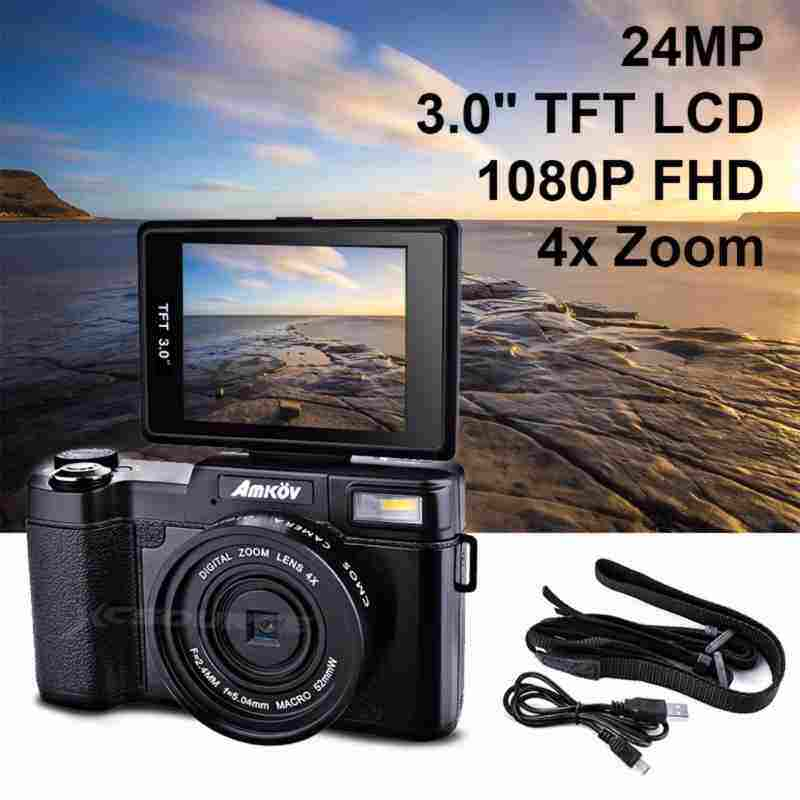 "AllRise Amkov 24MP Digital Camera FHD 1080P Video 3"" LCD Camcorder with UV Filter LF766"