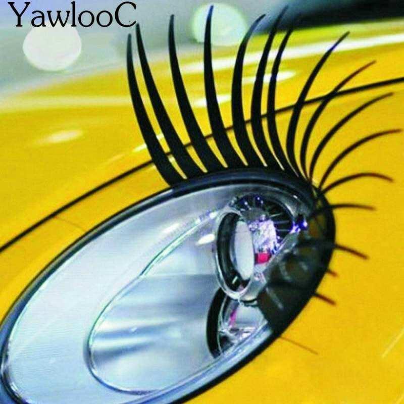 1 Pasang Menarik Bulu Mata Palsu Hitam Mobil Stiker Lampu Pengatur Gaya Hiasan Mobil Mobil 3D Eye Lash Sticker