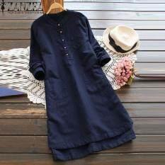Đầm sơ mi ZANZEA dài tay cổ đứng đơn giản thanh lịch, chất liệu 100% cotton, thiết kế thời trang