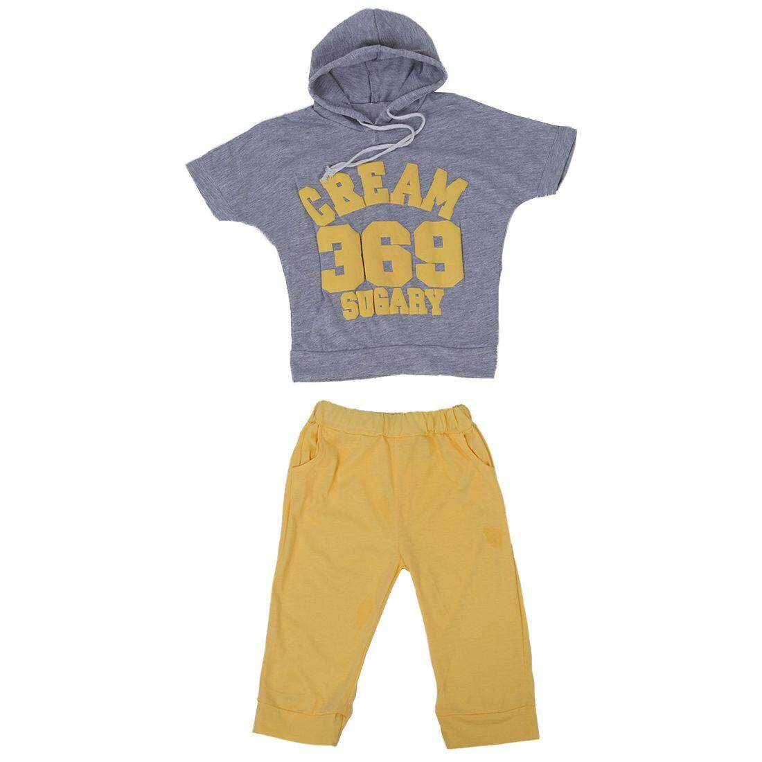 Baby Girls Boy Short Sleeve Sportswear Suit Hoodie T-shirt Tops Short Pants Yellow 2-3 Years - intl