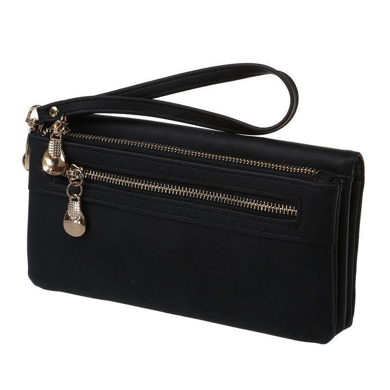 Yocho ผู้หญิงกระเป๋าสตางค์แฟชั่นหนัง Pu อเนกประสงค์กระเป๋าคลัทช์สำหรับผู้หญิงกระเป๋าโทรศัพท์สีดำ By Yocho.