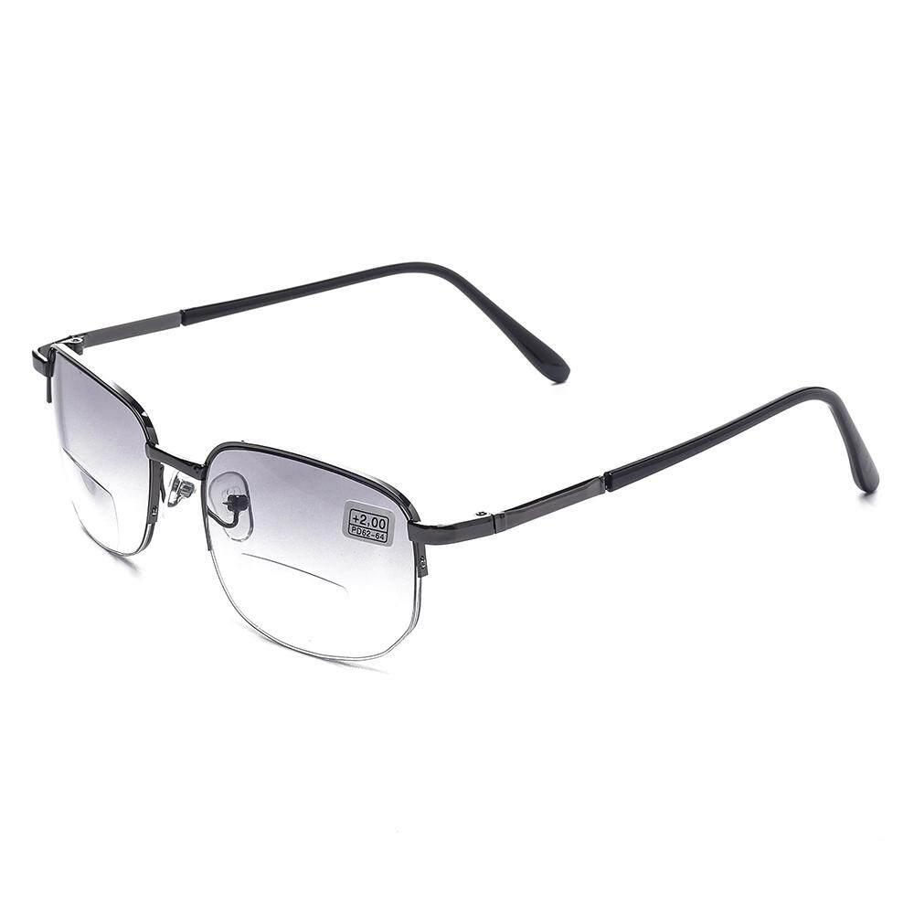 100 Degree Womens Mens Vintage Flexible Metal Double Light Lens Half Frame Square Reading Glasses