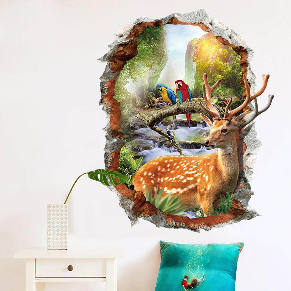 3D Animal Deer PVC Wall Decals DIY Home Sticker WallPaper Vinyl Wall arts Pictures Removable Murals For House Decoration Baby Living Rooms Bedroom Toilet