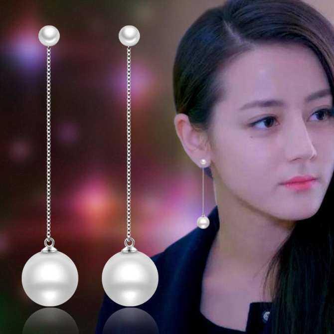 7dddKorean Phong Cách Thời Trang Ngọc Trai Tua Rua Dài Bông Tai Nữ Đồng Mạ Bạc treo Bông Tai