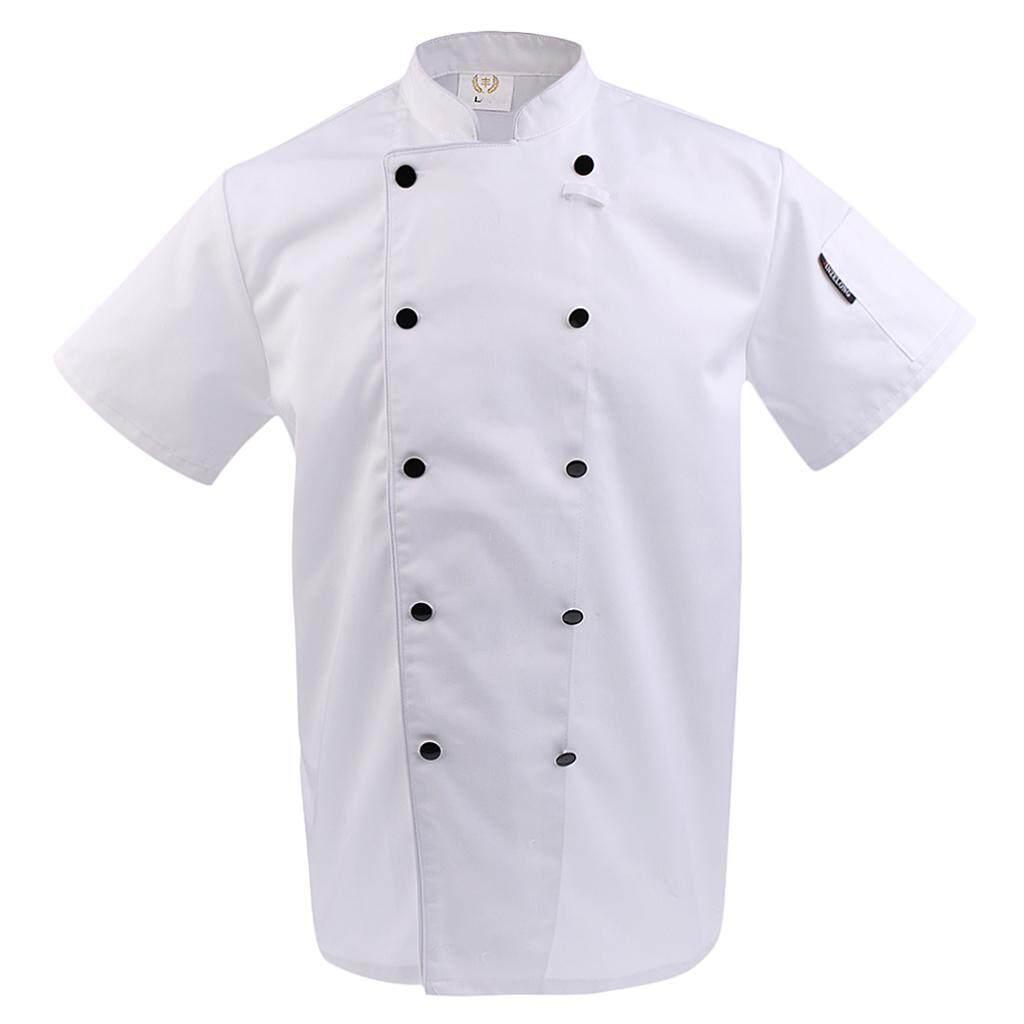Chef Coat Unisex Short Sleeve Cook Uniform Restaurant Double-Breasted Jacket