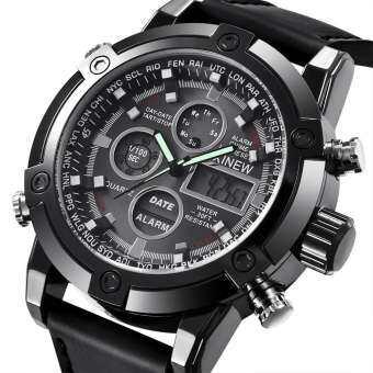 XINEW Luxury Dual Movt ผู้ชายหนัง Quarz Analog ดิจิตอล LED กีฬานาฬิกาข้อมือ-