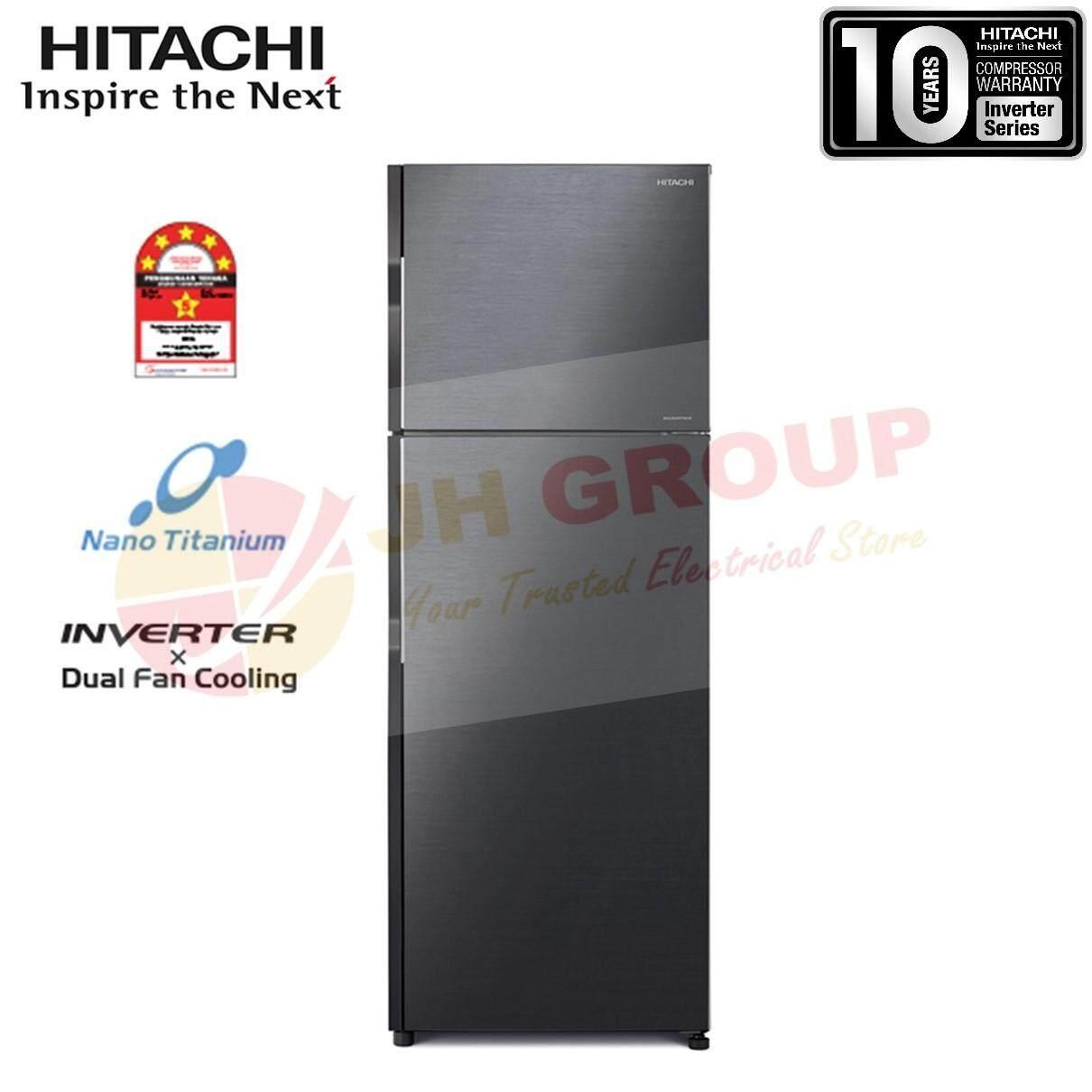 (AUTHORISED DEALER) HITACHI R-H270P7M BBK 253L INVERTER 2 DOOR REFRIGERATOR
