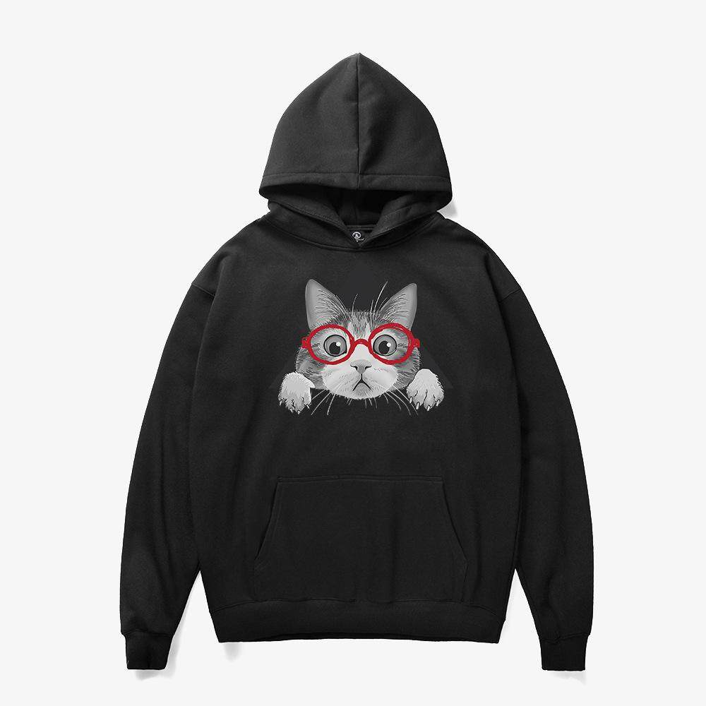 2018 New Autumn and Winter Hooded Knit Sweater Fun Cute Cat Print Sweater Loose Plus Velvet Hoodie Thick Couple Hooded Men's Hooded
