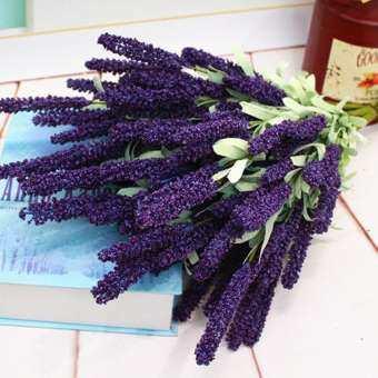 Outops จำลองช่อดอกลาเวนเดอร์ดอกไม้ประดิษฐ์ของตกแต่งงานแต่งงานในบ้าน (12 ดอกไม้หัวต่อช่อ)
