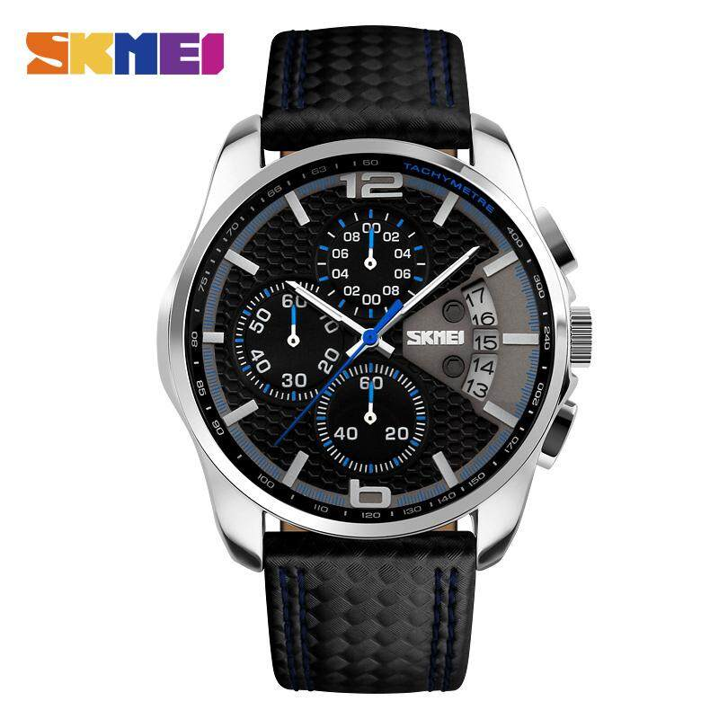 SKMEI New Men Fashion Watches Analog Quartz Wristwatches 30M Waterproof Chronograph Date Leather Band Watch 9106