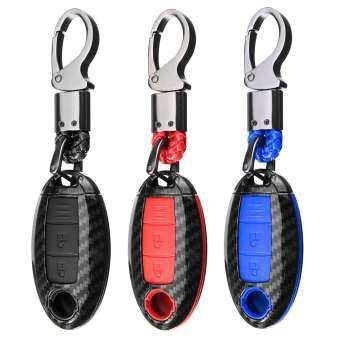 สำหรับรถนิสสันจริงหนัง + โครเมียมกุญแจรีโมตกระเป๋ากรณี COVER + พวงกุญแจสีดำ-