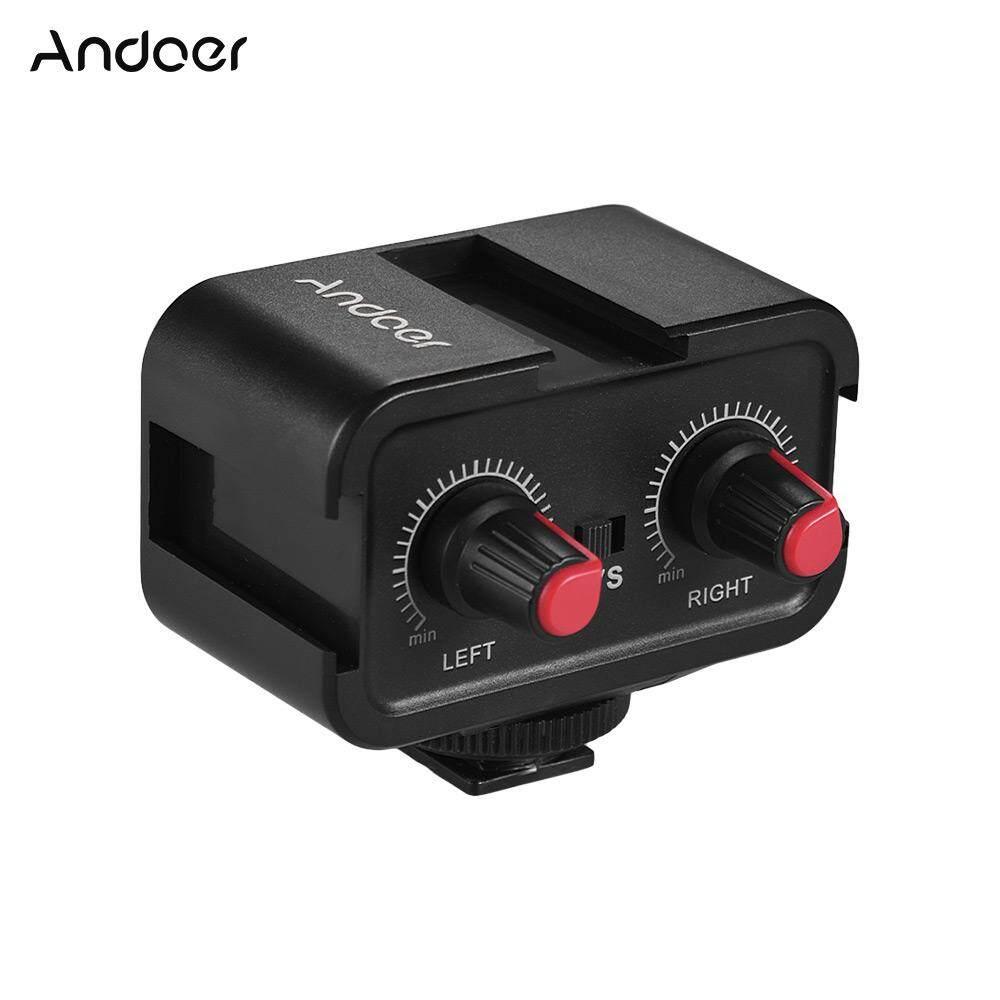 Andoer WS-VS Dual-Channel Audio Mikrofon Adaptor Pengaduk & Dingin Sepatu Hub Pemasangan