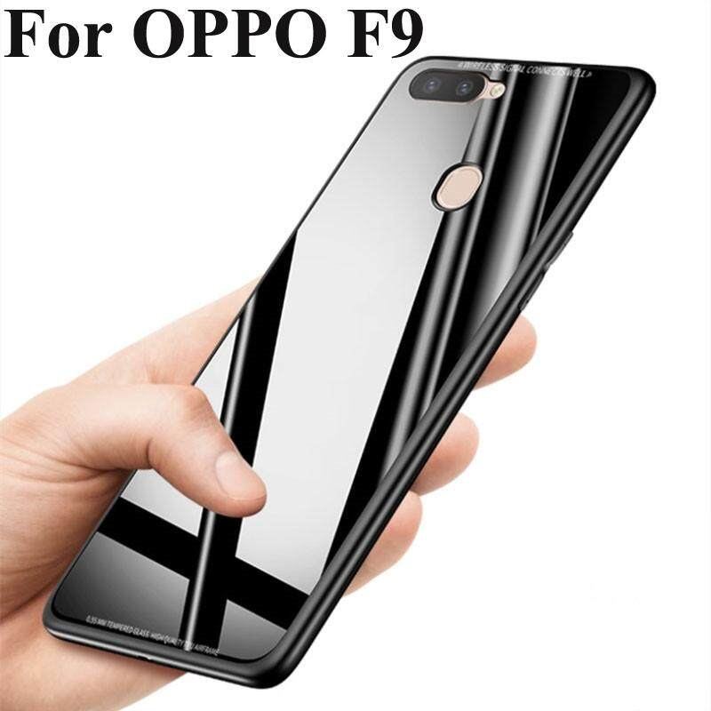 Casing Ponsel untuk OPPO F9 Kaca Belakang + Tepi TPU Slim Tipis Anti Gores Anti-