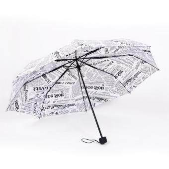 Retro Design Three Folding Women's Umbrella Anti-UV Sunny and Rainy Umbrellas Women Rain Parasol Female Antiveter( White )