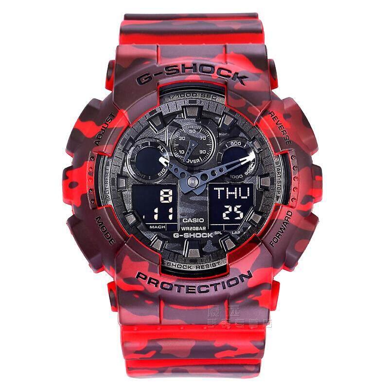 ชุมพร 【 STOCK】Original _ Casio_G-Shock GA-100 Duo W/เวลา 200M กันน้ำกันกระแทกและกันน้ำโลกนาฬิกากีฬาไฟแอลอีดีอัตโนมัติ Wist นาฬิกากีฬาสำหรับ MenGA-100CM-4A สีแดง B