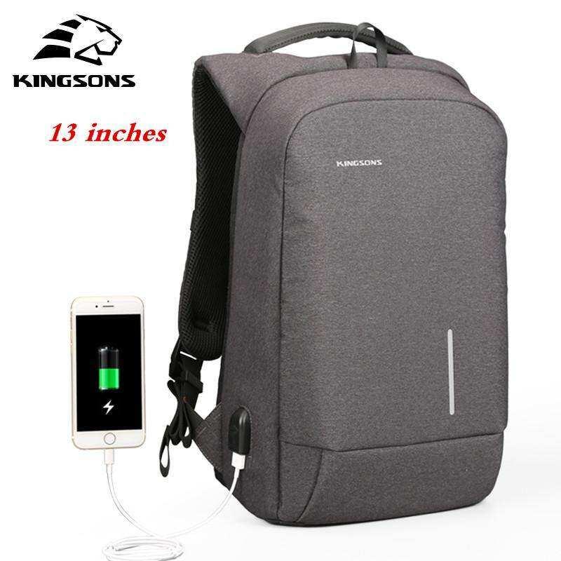 Kingsons External USB Charging 13.3-Inch Laptop Backpack Waterproof Nylon Business Backpack Large Capacity Travel Bag Multi-functional School Bag (Dark Grey)